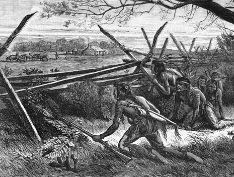 Illustration of Sioux Warriors Preparing to Attack Settlers